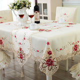BZ307 Europe Polyester Tablecloth Embroidered Floral Hollow Table Cover Rectangular Elegant Home Party Wedding Decoration