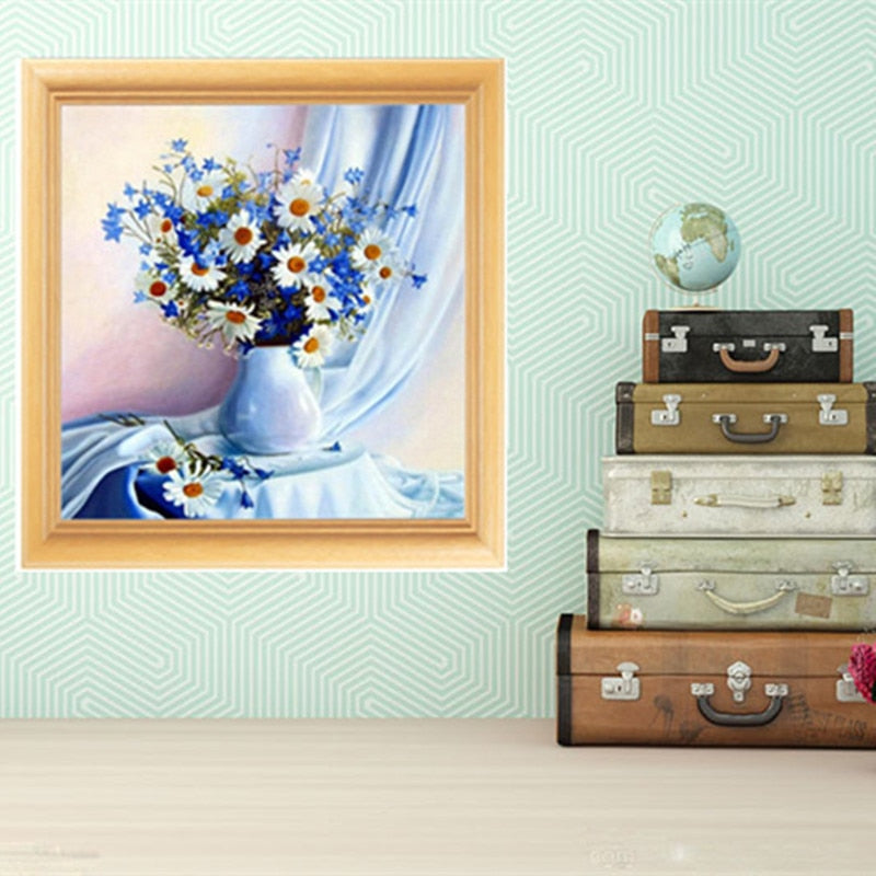 DIY 5D Diamond Embroidery Blues Daisy Round Diamond Painting Cross Stitch Kits Mosaic Painting Home Decoration