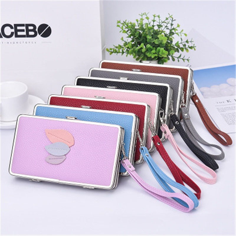 Tide leaf new long section of lychee pattern ladies wallet Korean casual lunch box clutch ladies' leather handbag purse