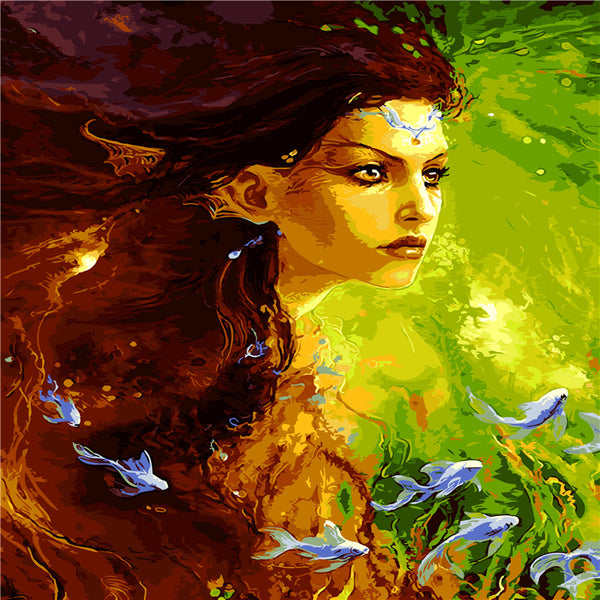 Beauty and Fish Digital Painting  picture drawing  Handpainted Oil Painting by numbers oil paintings  scroll painting