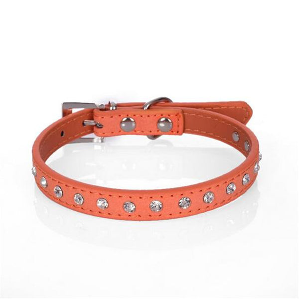 CW015 Diamond crystal cool leather dog collars small dogs 7 colors cashmere cattle collars for pets cat dog leads cat collar