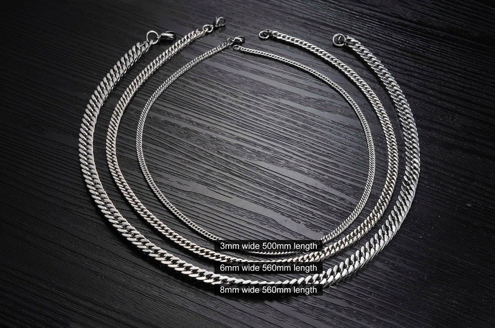 CIFBUY Fashion Width 8mm/6mm/3mm Length 56cm/50cm Man Necklaces Classical Stainless Steel Link Chain Men Jewelry Low Price GL743