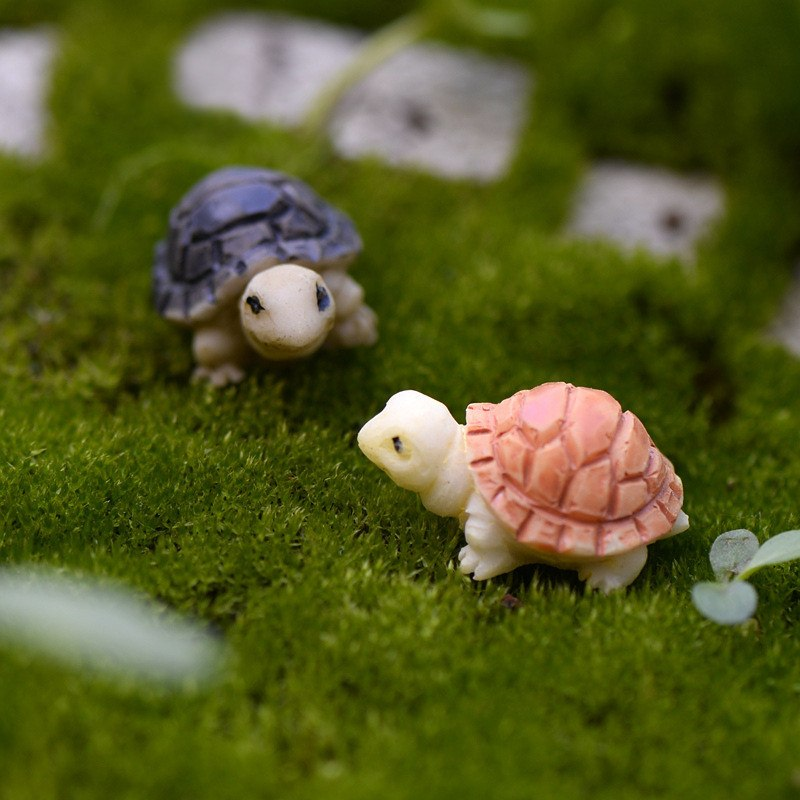 XBJ015 Miniature Decoration 2 pcs Cartoon Crafts Garden Tortoise Ornament Resin Decor Terrarium Figurines Micro Landscape