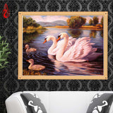 DIY 5D Full Diamond Embroidery Swans swimming Round Diamond Painting Cross Stitch Kits Diamond Mosaic Home Decoration