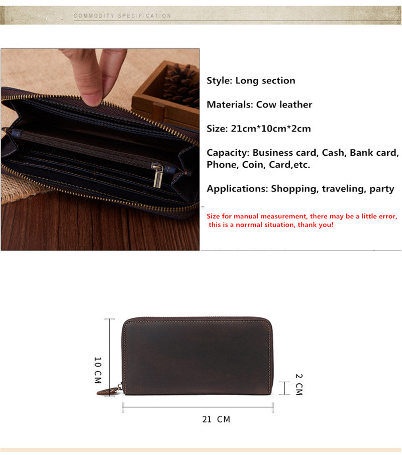 New Genuine leather wallet Cow leather crazy horse leather men long zipper wallet handbag Large-capacity classic wallet