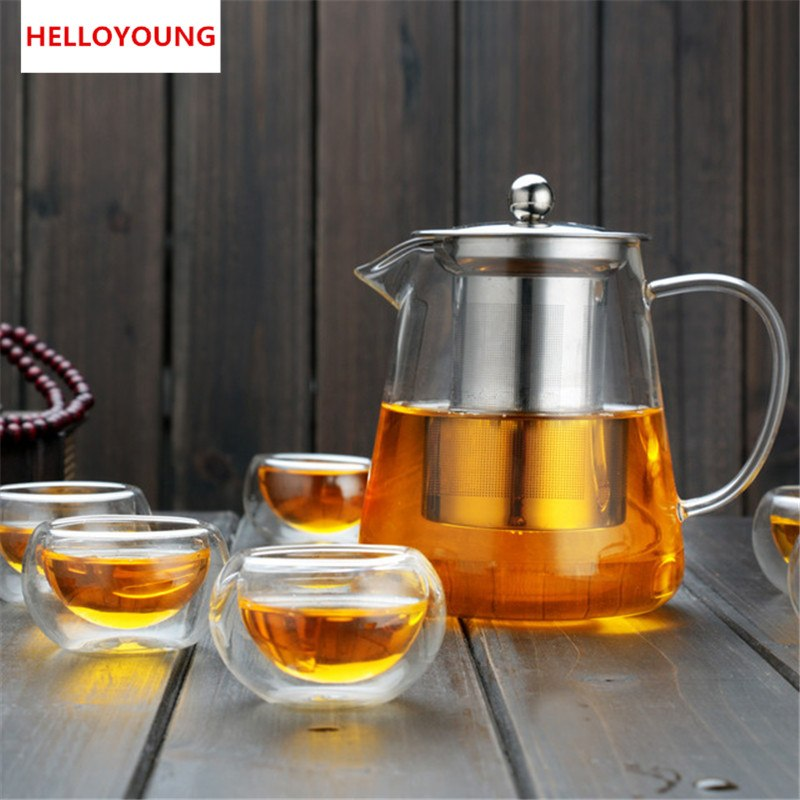 CJ262 Hot Sale Heat Resistant cup Kettle Teapot Flower Tea Set Pu'er Coffee Tea Pot Drinkware Set Stainless Steel Strainer