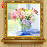 DIY Partial 5D Diamond Embroidery The Lily Vase Round Diamond Painting Cross Stitch Kits Diamond Mosaic Home Decoration