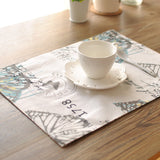 BZ816 table mats Tableware mats Pads printing butterfly double thick cloth place table mat table runner with doily napkin