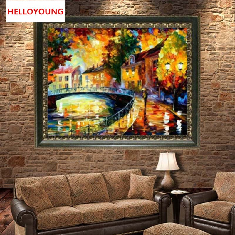 DIY 5D Full Diamond Embroidery Oil Painting Street Round Diamond Painting Cross Stitch Kits Diamond Mosaic Home Decor