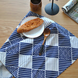 BZ800 table mats Tableware mats Pads Western Nordic napkin plaid fabrics linen table mat placemat Japanese style navy blue
