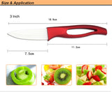 "Beauty Gifts Zirconia good red handle Ceramic fruit Knife kitchen Set 3"" 4"" 5"" 6"" inch+ Peeler+Covers"