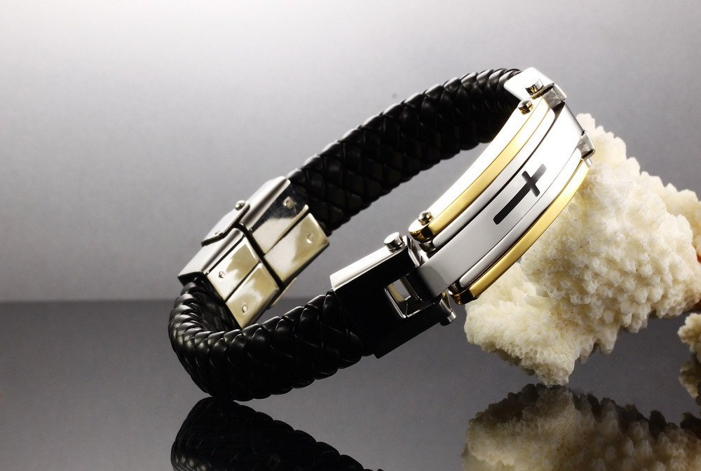 CIFBUY Vintage Leather Wrap Bracelet For Man Fashion Handmade Knitted Bangle Black/Gold Color Full Steel Cross Men Jewelry PH916