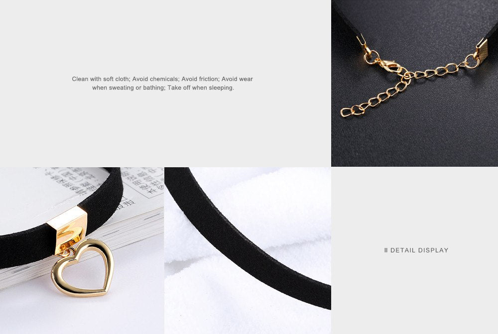 CIFBUY Gothic Choker Necklace For Women Hollow Heart Pendant With Smooth Flannel lace Retro Christmas Present For Girl RX008