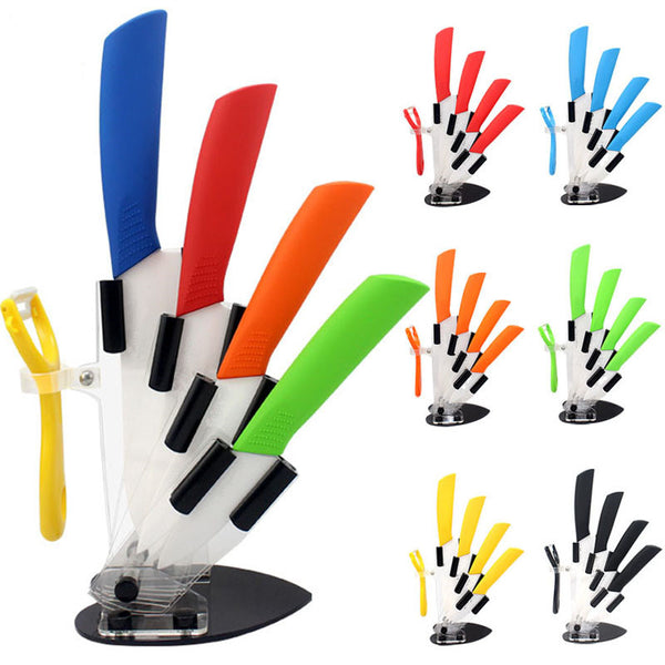"brand high quality kitchen knife ceramic knife set 3"" 4"" 5"" 6"" inch + peeler + Transparent Acrylic Stand kitchen"