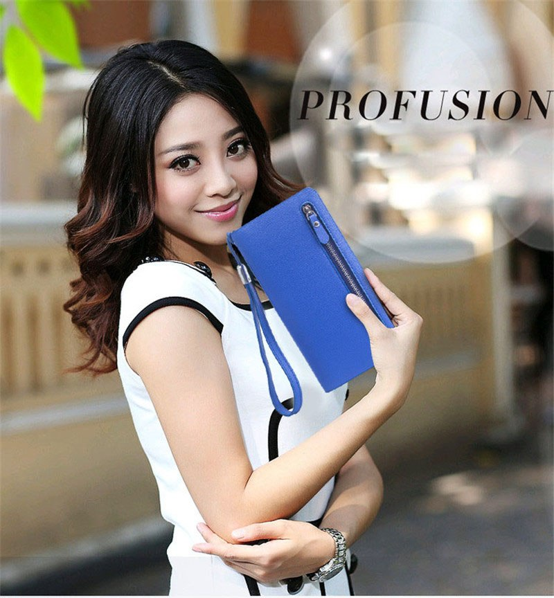 Cross-shaped long wallet zipper large-capacity High quality Frabric ladies' eather handbag Star model money clam wallet