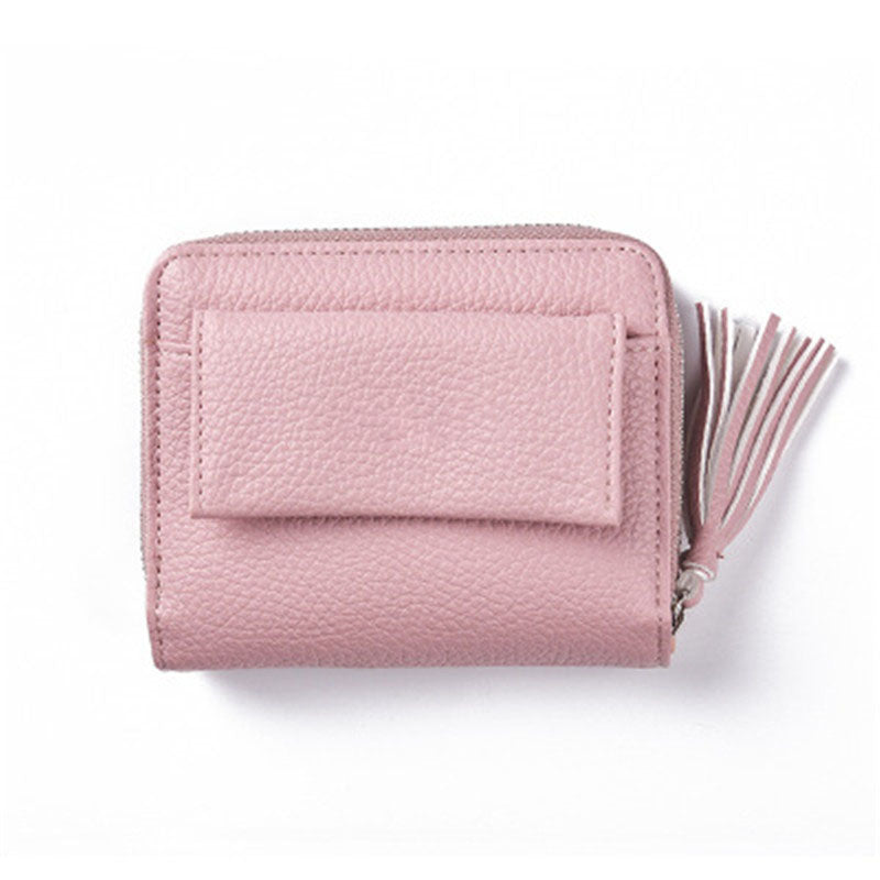 Two-fold tassel zip buckle litchi pattern small purse High-quality purse female original leather wallets women bag