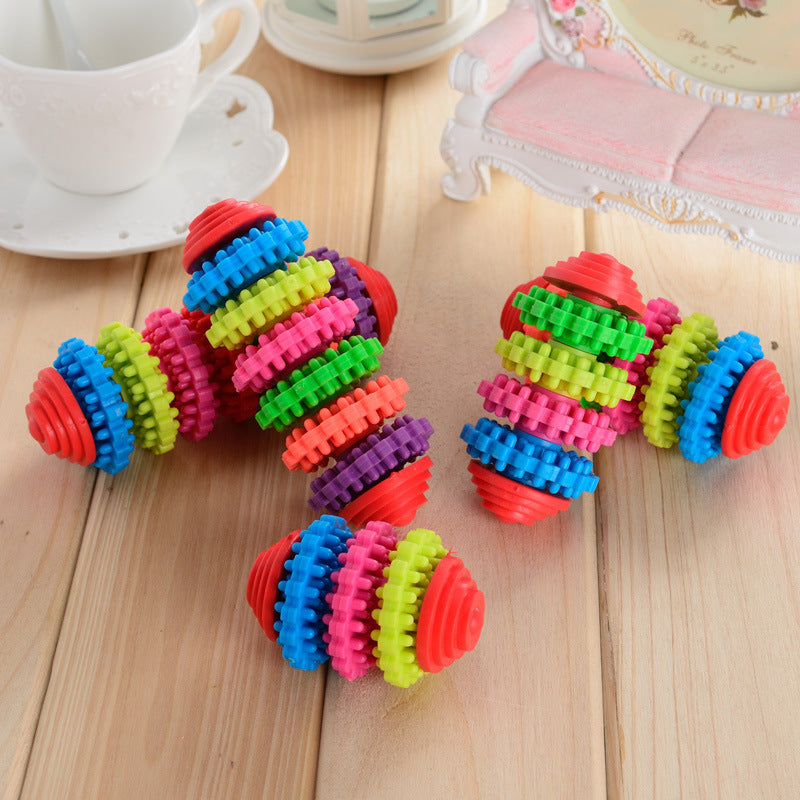 Colorful Rubber Pet Dog Toys Puppy Dental Teething Healthy Teeth Gums Chew Pet Toy Rubber Teething Tool Healthy Squeaky Cat Toy