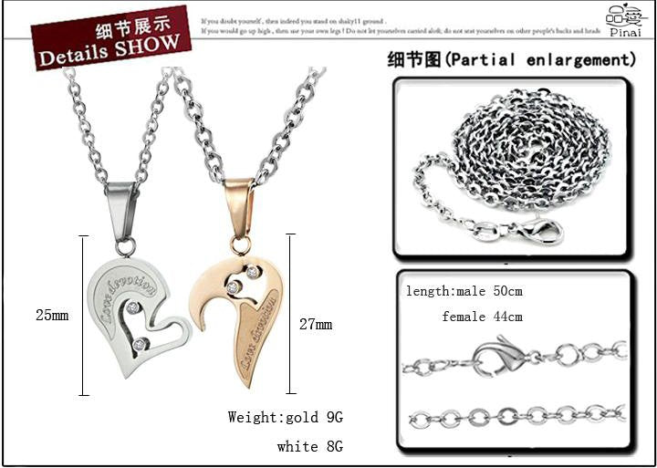CIFBUY Sweet Love Heart Necklace couple puzzle pendants for lovers Cubic Zirconia Stainless Steel 537