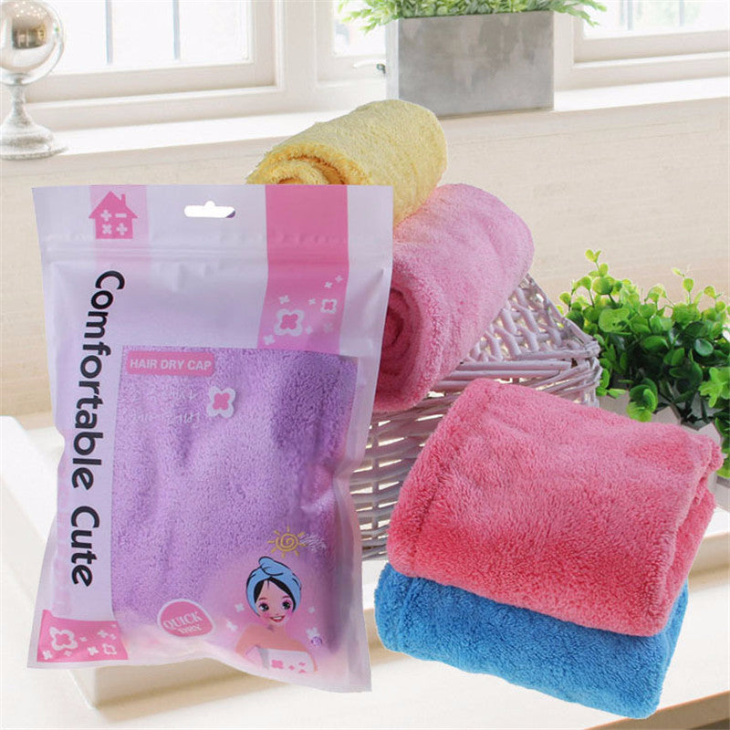 HELLOYOUNG Women Bathroom Super Absorbent Quick-drying Microfiber Bath Towel Hair Dry Cap Salon Towel 25x65cm
