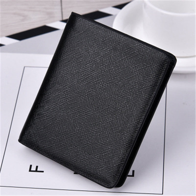 New European&American retro men's short High quality PU genuine Cross card package men's purse