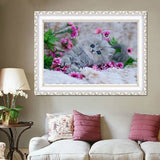 DIY 5D Partial Diamond Embroidery The Cute Cat Round Diamond Painting Cross Stitch Kits Diamond Mosaic Home Decoration