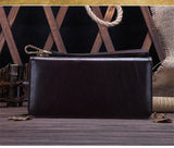 Business elegant hand clutch simple generous wax leather wallet High quality genuine leather long section men's wallet