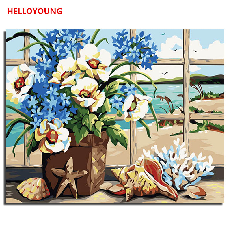 HELLOYOUNG DIY Handpainted Oil Painting Listen the sea Digital Painting by numbers oil paintings chinese scroll paintings