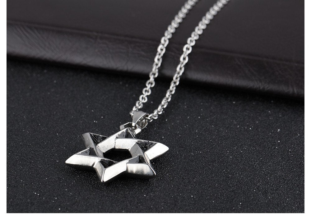 Star Of David Pendant Men Necklace With Religious Words Stainless Steel Link Chain Luck&Blesiing Jewelry Gift For Boy GX1102