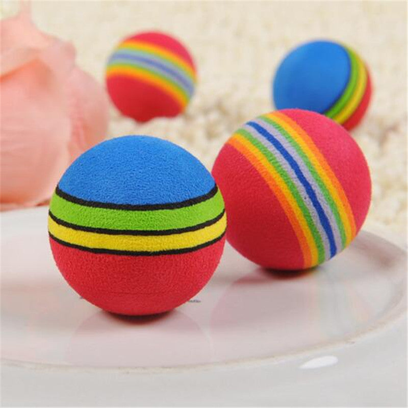 CW026 Rainbow Color Ball Pet Dog Cat Puppy Chew Toys Funny Durable Bite Balls Molar Tool Interactive Training