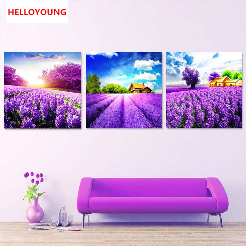 DIY 5D Full Diamond Embroidery Romantic Lavender Round Diamond Painting Cross Stitch Kits Diamond Mosaic Home Decoration