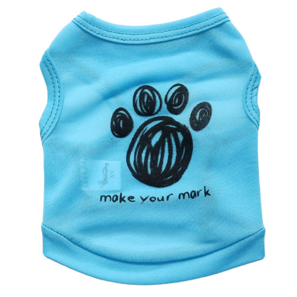 Cotton Dog Clothes Apparel Pet T-Shirt Clothing Summer Breathable Cozy Cat Pet Clothes for Dogs Vest Make your mark footprint
