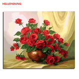 HELLOYOUNG Picture Flowers DIY Painting By Numbers Modern Wall Art Canvas Painting Acrylic Drawing Unique Gift For Home Artwork