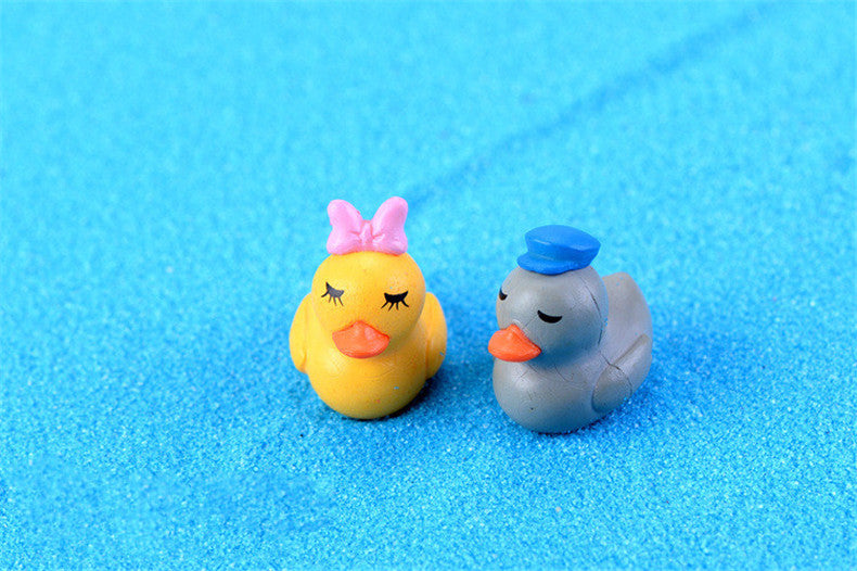 XBJ181 Mini 5pcs Couple ducks decoration supplies moss micro landscape deco  Garden deco Creative handicrafts