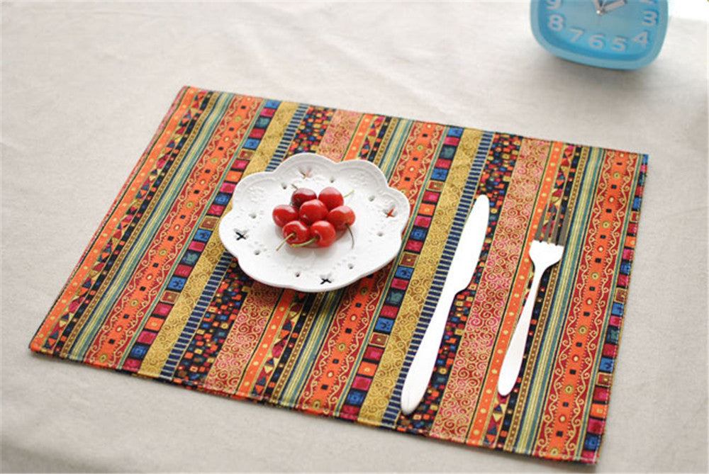 BZ811 Table mats Tableware mats Pads Quality home essential double deck mat table cloth ethnic style restaurant mat