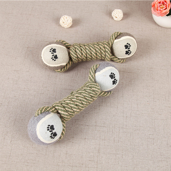 Hotsell Pet Chew Toy Dumbbell Tennis Double Ball Cotton Rope Toy For Dogs Pet Training Teeth Clean Chewing Dog Toys High Quality