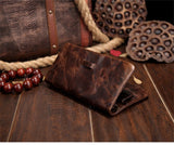 Oil wax leather men's leather wallet casual retro long wallet large capacity multi-position clutch men's purse
