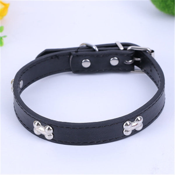 2CM Personalized bone Dog Collar Pu Leather Collars For Dogs Necklace Pet CAT Products For Animals