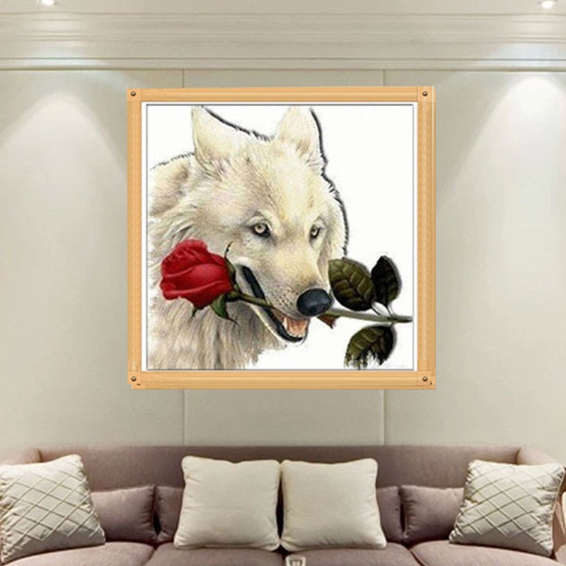 DIY 5D Diamond Embroidery  Wolf is carrying the roses Round Diamond Painting Cross Stitch Kit Mosaic Painting Home Decor