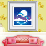 DIY 5D Round Diamond Painting Cross Stitch Kit Love in Dolphin Bay Paste diamond  painting Embroidery Home Decoration
