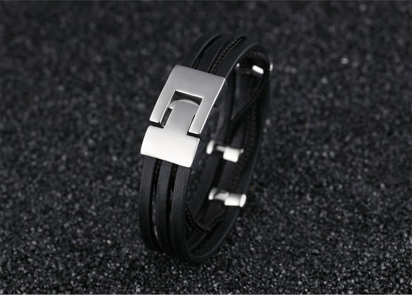 New Arrival Multi Layers Genuine Leather Bracelets For Men Punk Braided Wrist Wrap Braclet Casual Jewelry Gift PH1129