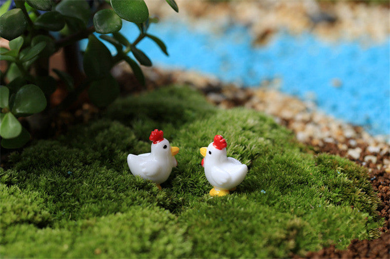 XBJ160 Mini 5pcs White little cock decoration supplies moss micro landscape deco  Garden deco Creative handicrafts