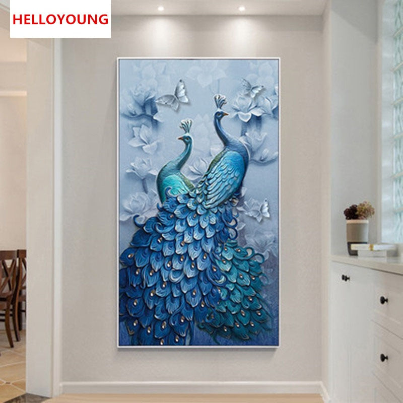 DIY 5D Full Diamond Embroidery blue peacock Diamond Painting Cross Stitch Kits Diamond Mosaic Home Decoration