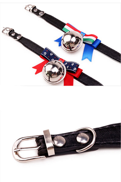 Pet Dog Collar Bowknot Lead Adjustable Leather PU Cat Kitten Collars with Bell Necklace Pup Dog Collars Bow Tie Dog Accessories