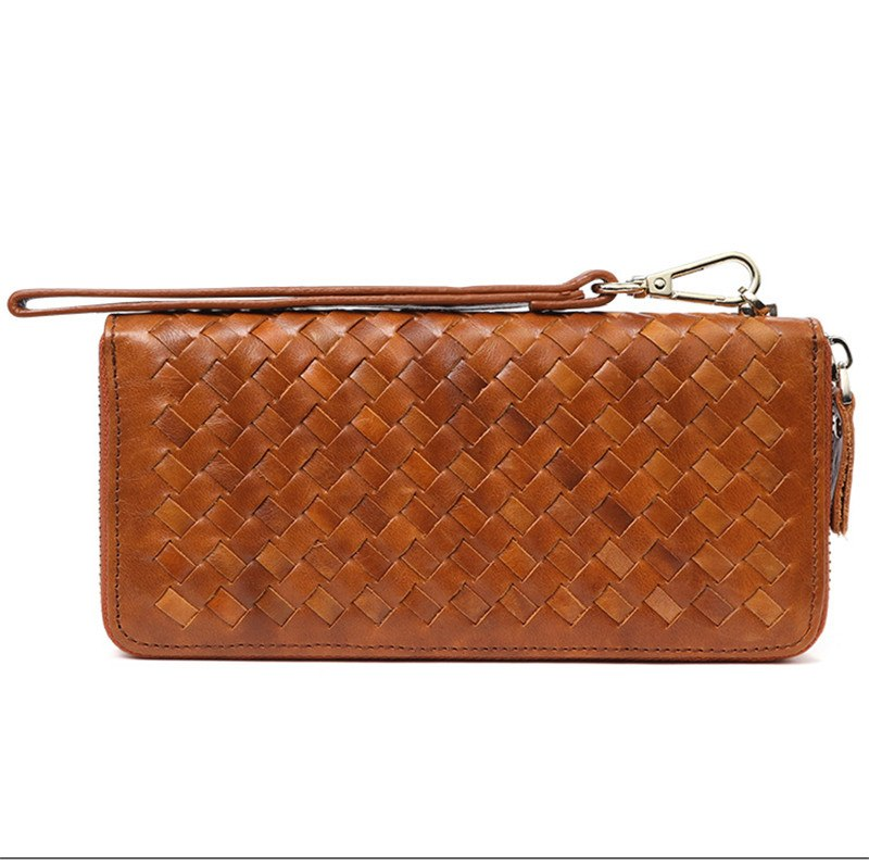 Leather men's woven wallet casual trendy long wallet fashion personality clutch High-quality genuine men's wallets