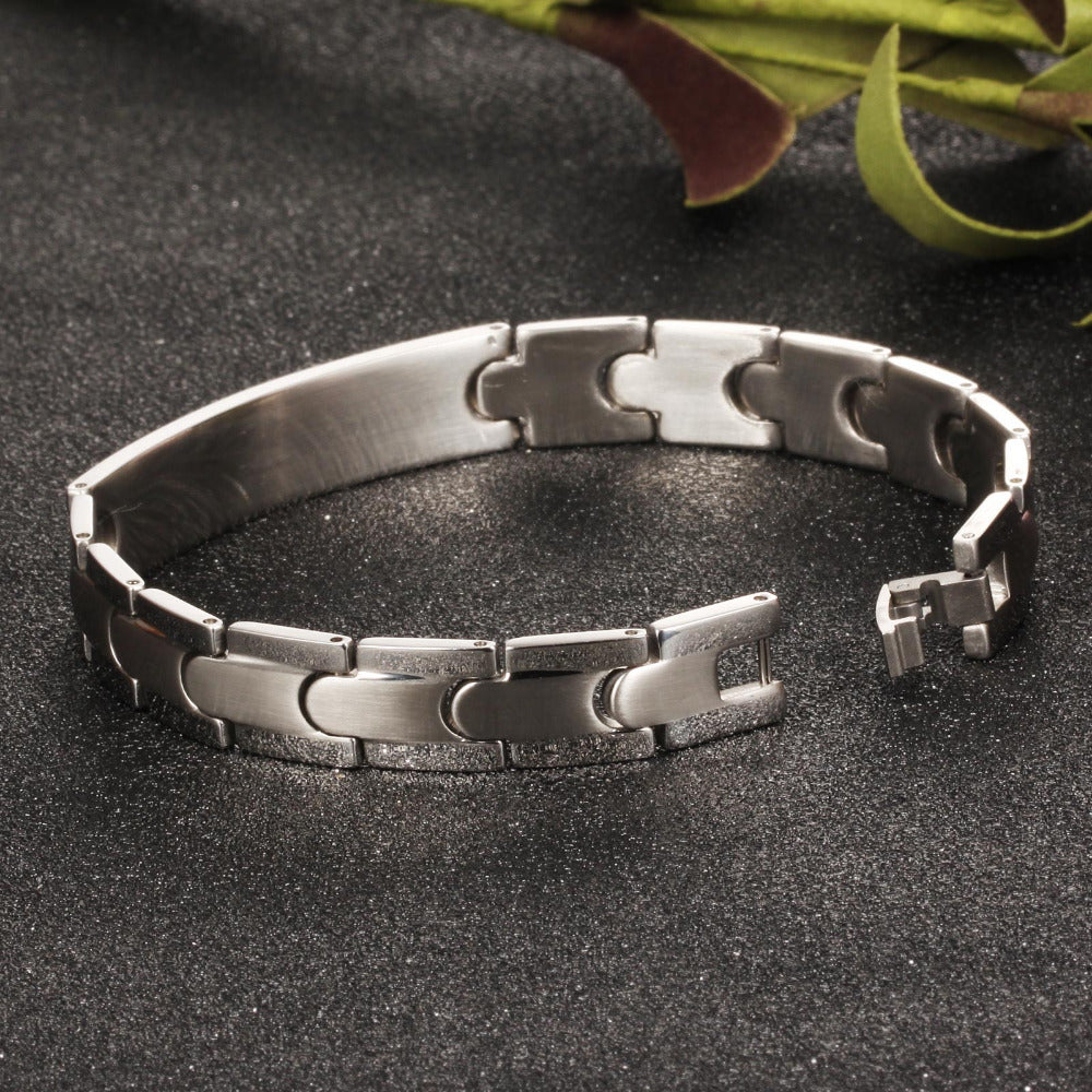 CIFBUY Mans Chain & Link Bracelets Fashion Smooth/Cross Design Stainless Steel Vintage Mens Friendship Jewelry GS761