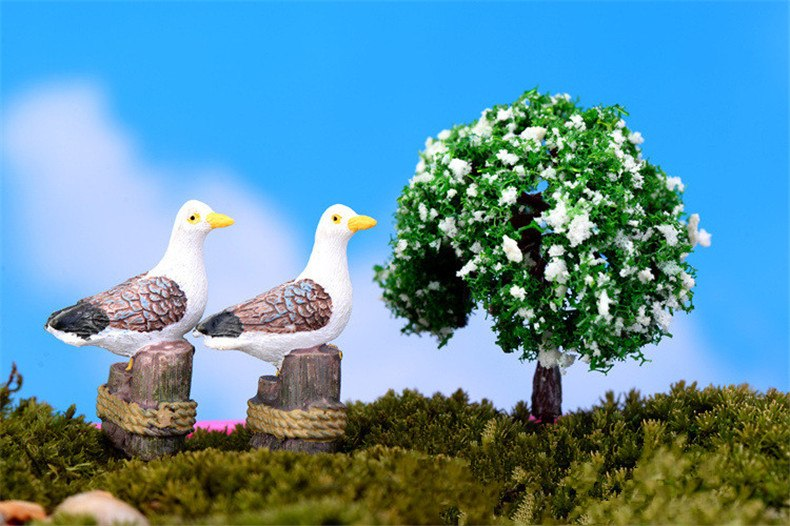 XBJ182 Mini 3pcs Seagull turtledove decoration supplies moss micro landscape deco  Garden deco Creative handicrafts
