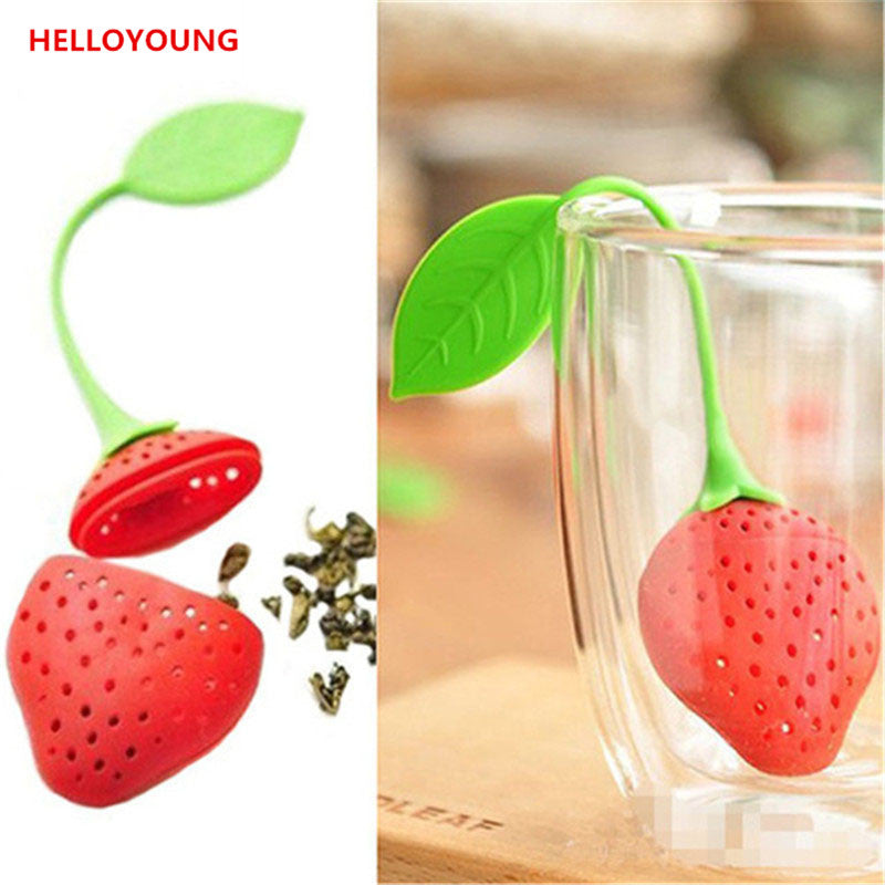 CJ052  Food-grade Silicone Strawberry Design 1 pc Loose Tea Leaf Strainer Herbal Spice Infuser Filter Tools