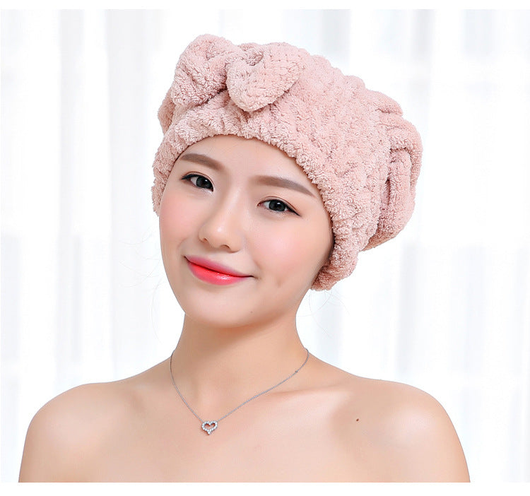 HELLOYOUNG Bowknot Women Bathroom Super Absorbent Quick-drying Microfiber Bath Towel Bath Robe Hair Towel Hair Dry Cap Set