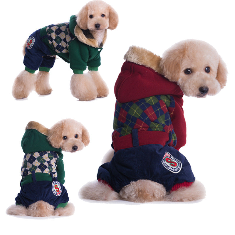 Plaid Pet dog clothes for small dogs jackets coats pet clothes dogs clothes winter cotton pet clothing costume S-XXL