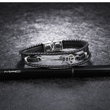 CIFBUY Classic Guitar Bass Bracelet For Men Multilayer Leather Stainless Steel Handmade Braided Rope Male Jewelry Gift PH1224